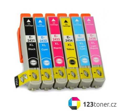 sada Epson T2438 - Epson 24XL multipack (T2431, T2432, T2433, T2434, T2435, T2436) kompatibilní cartridge, inkoust do tiskárny Epson Expression Photo XP-850