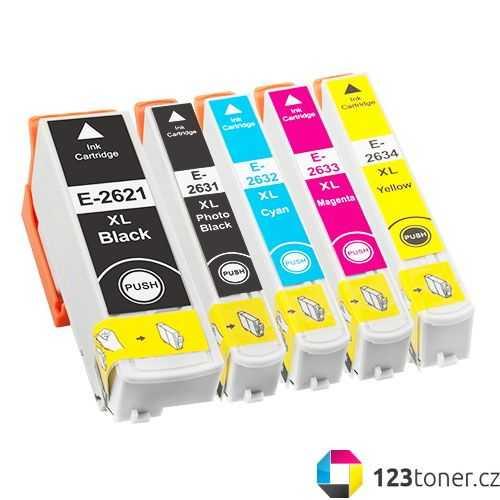 sada Epson T2636 - 26XL (T2621, T2631, T2632, T2633, T2634) - 5x cartridge kompatibilní inkoustové náplně pro tiskárnu Epson Expression Premium XP-615